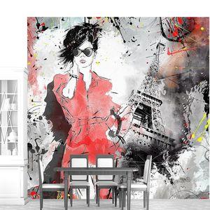 Арт женщины и Эйфелевой башни