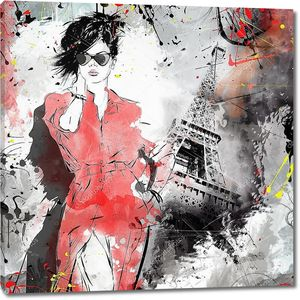 Женщина у Эйфелевой башни
