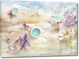 Мраморный фон, цветные круги в белых кольцах, розовые и фиолетовые рыбы