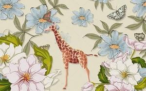 Жираф в цветах