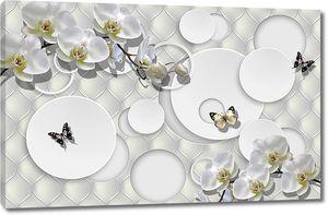 Круги с орхидеями и бабочками