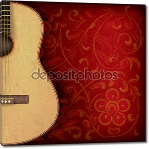 Музыкальный гранж-фон с гитарой