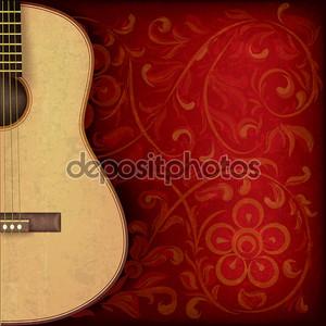 Музыкальный гранж-фон с гитарой и растительный орнамент