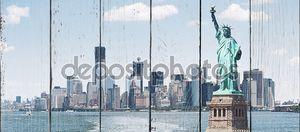 Бруклинский мост и Манхэттен с статуя свободы