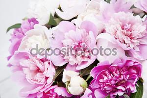 Красивый букет розовых и белых пионов