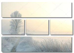 Зимний пейзаж на рассвете