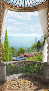 Полукруглая терраса с видом на море и ручей