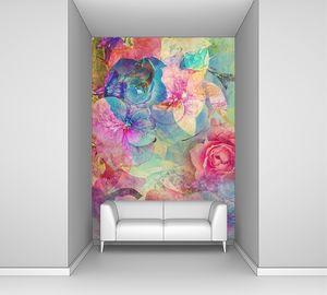 Романтический фон с розами и гортензий