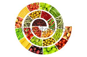 Спирали изготовлены из различных фруктов и овощей