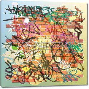 Кирпичная стена с граффити