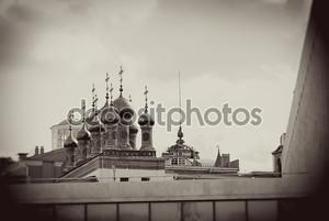 Московский Кремль. Винтажном стиле Сепия фото.
