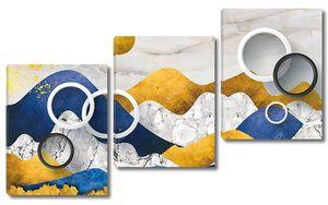 Многоцветный мраморный фон, белые кольца
