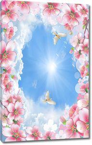 Кусочек неба в рамке из цветов