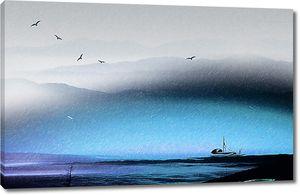 Лодочка в синем тумане