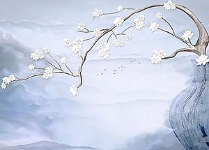Плакучая сакура над рекой