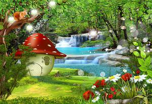 Домик-гриб у водопада