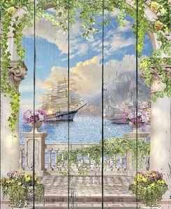 Терраса с видом на большой корабль