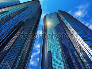 современные синие рефлексивные офисные здания