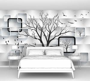 Белый волнообразный фон с рамками и деревом