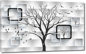3d иллюстрация, белый волнообразный фон, белые и черные прямоугольные рамки, очертания деревьев, белые и черные птицы