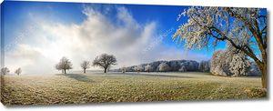 Волшебный зимний панорамный пейзаж