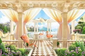 Прекрасная терраса с фламинго