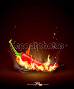 Вектор пылающий красный Чили на коричневый фон