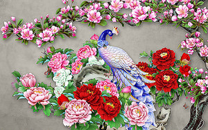 Фаянсовый павлин в цветах