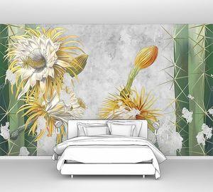 Красивые кактусы на бетонной гранж-стене