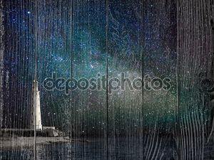 Маяк ночью и млечный путь