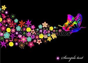 Черный фон с бабочка и цветы