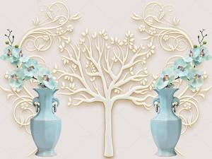 Белое тисненое дерево,  две синие вазы