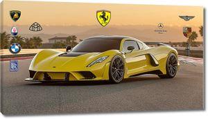 Желтая агрессивная спортивная машина