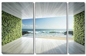 Пространство с вертикальными садами и видом на море