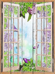 Открытое окно в сад с сиренью