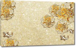 Золотой блестящий фон с абстрактными золотыми цветами и золотой рыбкой