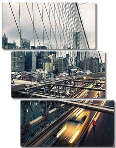 Такси, пересекающее Бруклинский мост