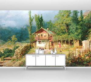 Прекрасный сад с лошадью во дворе
