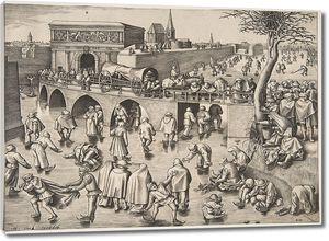 Брейгель Гравюра. Катание на коньках перед воротами св.Георгия г.Антверпена