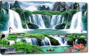 Журавли у горного водопада