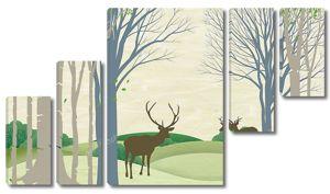 Пейзаж наядов, холмов, очертаний деревьев и коричневых оленей