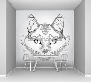 Силуэт головы кошки