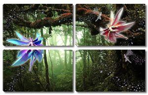 Цветочные феи в сказочном лесу