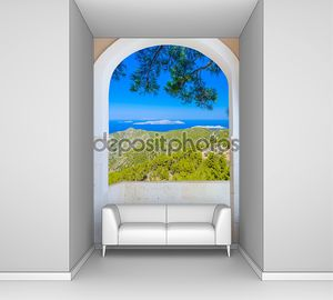 Природа пейзаж через окно с шторы