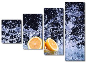 Плеск воды в макрос на лимон. Капли воды с сочного лимона