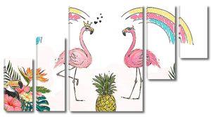 Фламинго с радугой
