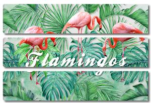 Пальмовые листья с тремя фламинго