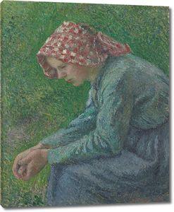 Камиль Писсарро. Сидящая крестьянка