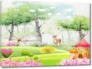 Олень в сказочном лесу