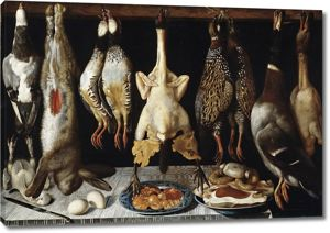 Томас Йепес. Натюрморт с птицами и зайцем